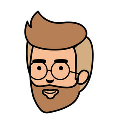 young man head with beard and glasses vector image