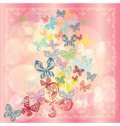 Butterfly set isolated on rose background vector image vector image