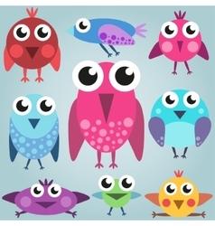 Cartoon bright bird set funny comic birds simple vector image