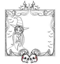 doodle frame Halloween witchbones bats skulls vector image vector image