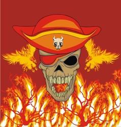 fire phoenix skull vector image