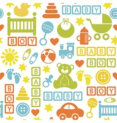 seamless pattern with icons for baby boy vector image vector image