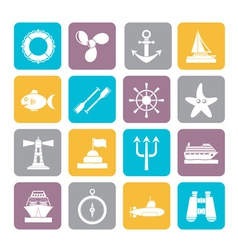 Silhouette Marine and sea icons vector image