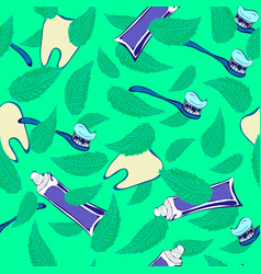 Teeth mint paste and brush stamless pattern vector