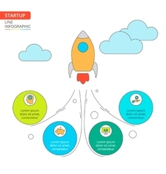 Thin line flat rocket for startup infographic vector image