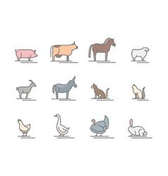 animals farm color thin line icon set vector image vector image