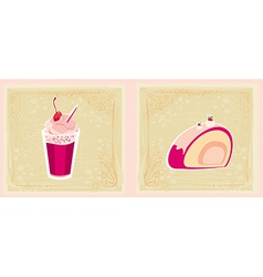 Colorful set of cakes vector image vector image