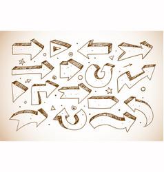 doodle sketch arrows in vintage style vector image