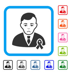 gentleman with mourning ribbon framed unhappy icon vector image vector image