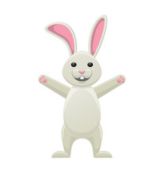Smiling white bunny with stretched paws isolated vector