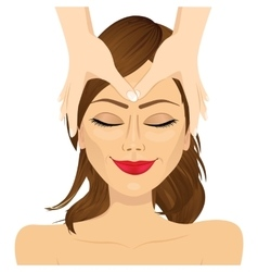 woman enjoying relaxing facial massage treatment vector image vector image