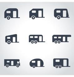 black trailer icon set vector image