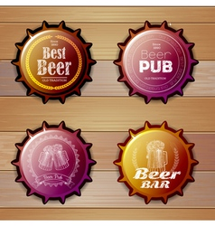 Bottle cap design beer labels vector