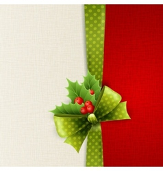 Christmas card with green polka dots bow and holly vector