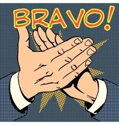 Hands palm applause success text bravo vector