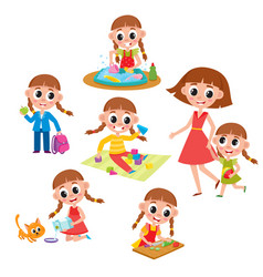 set of little prescooler girl daily routines vector image vector image