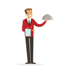 smiling waiter character serving a meal under a vector image