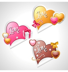 Valentines Day stickers Origami speech bubble vector image vector image