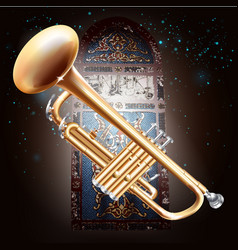 Brass trumpet on stained-glass window background vector image vector image