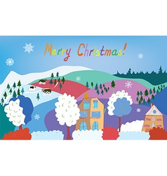 Merry Christmas card with mountain village cows vector image vector image