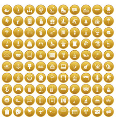 100 amusement icons set gold vector