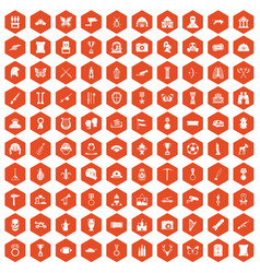 100 museum icons hexagon orange vector