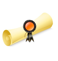 A scroll of paper with a ribbon vector image vector image