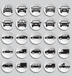 automobile icons set on plates background for vector image