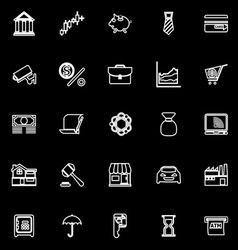 Banking and financial line icons on black vector