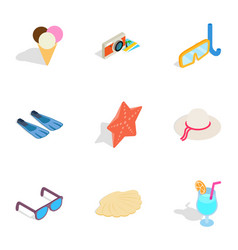 Beach elements icons isometric 3d style vector