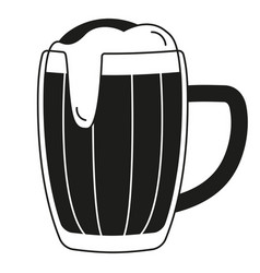 Black and white beer mug silhouette vector