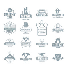 blacksmith metal logo icons set simple style vector image
