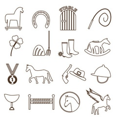 Brown simple horse theme outline icons set eps10 vector