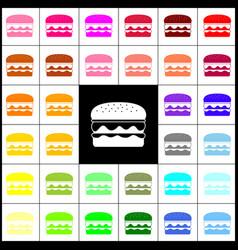 burger simple sign felt-pen 33 colorful vector image