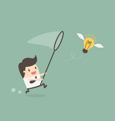 businessman chasing flying light bulb vector image
