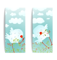 Cartoon Fun and Cute Baby Birds Flyer Design vector image