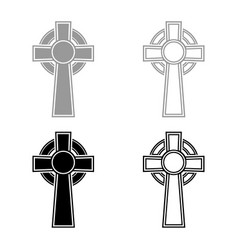 celtic cross icon set grey black color outline vector image