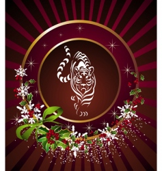 Christmas frame with tiger vector image