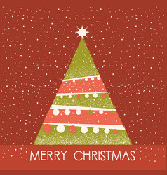 christmas tree red card vector image