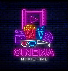 cinema neon signboard vector image