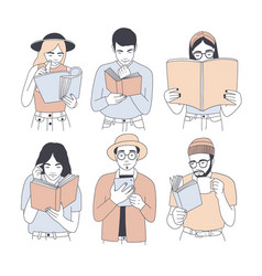 Collection of portraits of men and women reading vector
