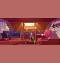 Cozy room on attic with hammock sofa and window vector