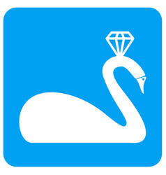 Crowned swan rounded square icon vector