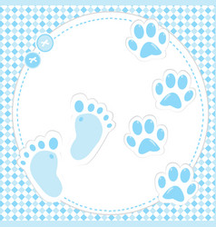 cute baby footprint and paws vector image