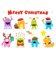 cute christmas monsters vector image