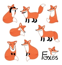 Cute little fox hand drawn characters set vector image