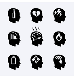 Depression stress concept or mental health icons vector image