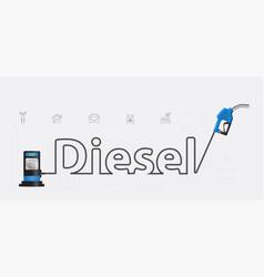 diesel typographic pump nozzle creative design vector image