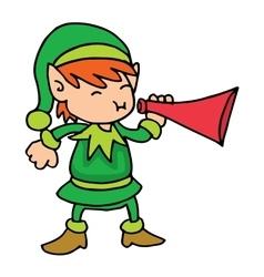 Elf singing Christmas character stock vector image