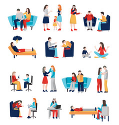 family psychologist characters set vector image